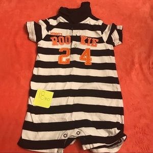 "Carter's ""Rookie"" polo collared romper"